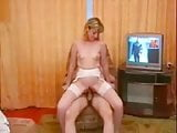 Blonde MILF in white stockings fucked while bf watches
