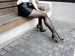 pantyhose legs heels. mini leather skirt  tights heelsPorn Videos