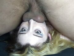 Hot Young Stripper Pinned Down for Sloppy Wet Facefuck