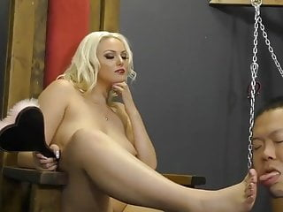 Evil Mistress Eats Banana While Humiliates Her Asian Slave