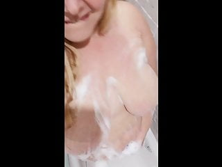 BBW Milf showering and covering herself in bubbles