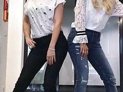 2 milfs sexy jeans butt dance