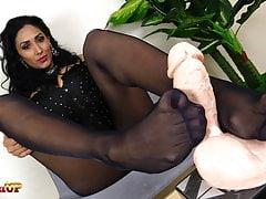 Hot Mistress Alexya handjob and footjob in black pantyhose