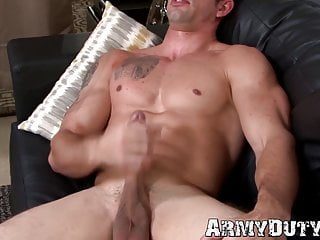 Good looking military stud solo...