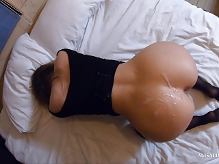 Laborious intercourse with sexy girl in stockings and cum on ass after celebration
