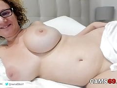 Mature Blonde in Bed Showing Huge Perfect Tits on Webcam