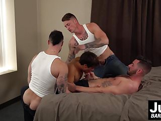 Buff tattooed studs swap dicks and holes orgy...