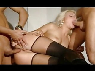 MMF-Blonde getting it in both ends at the same time