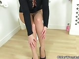 English milf Heidi fucks a dildo in bathroom