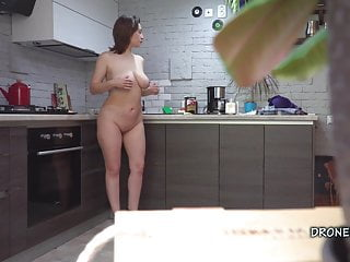 Czech MILF Gadget- Hidden spy cam in the kitchen