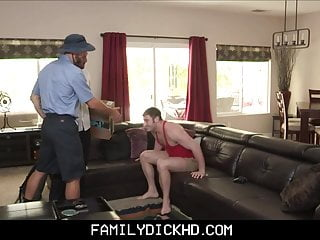 Jock Step Son And Step Dad Threesome With Mailman