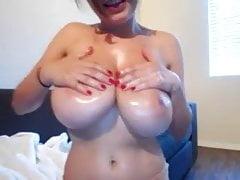 Busty Amateur Slut Oiling Her Big Hangers