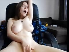 Fingering in daddy's office chair