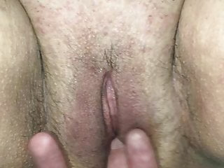 Me fingering and fucking old shaved pussy