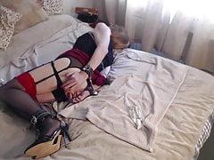 Sissy In Restrain Bondage Manhandles Herself For Daddy