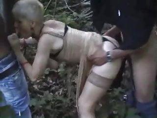 French slutty granny gangbanged outdoors...