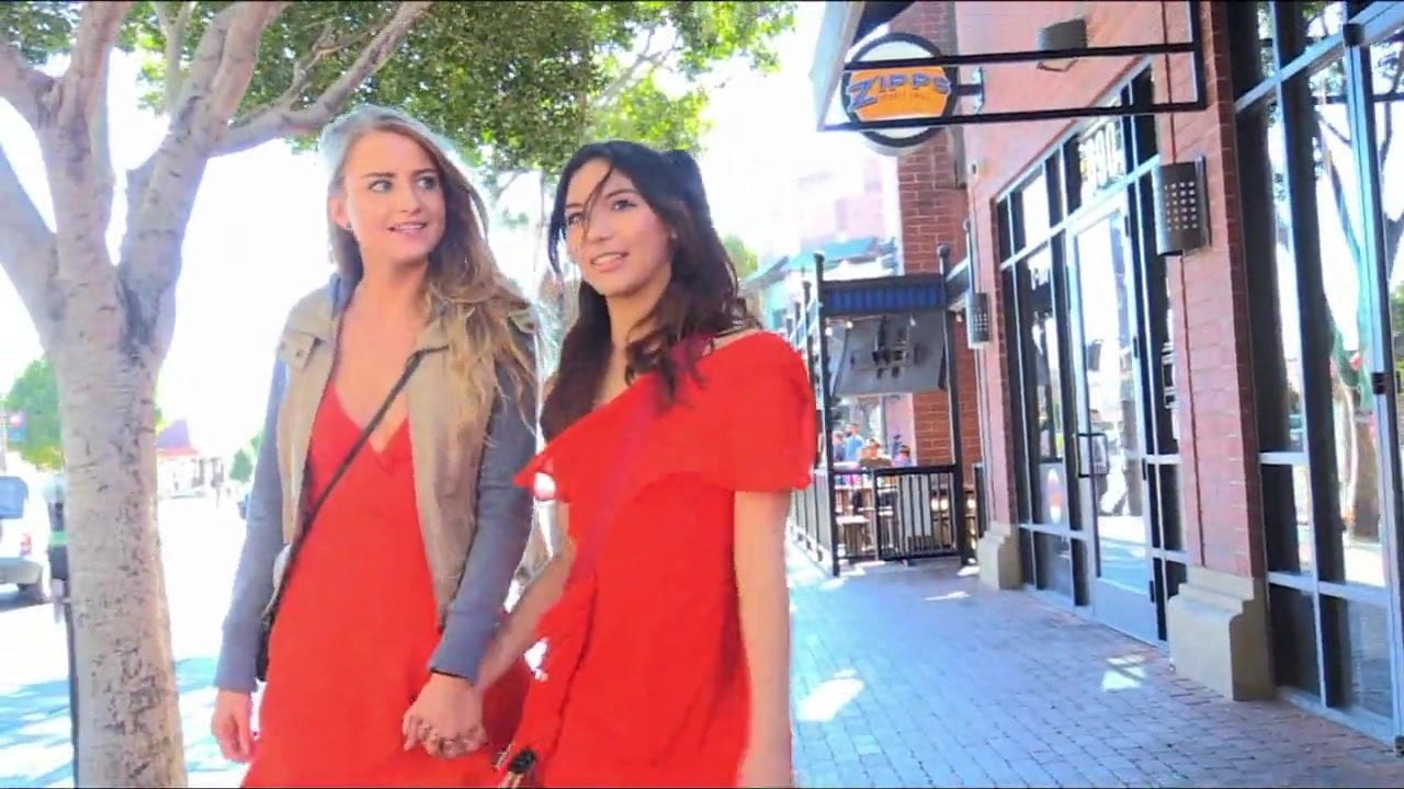 Cute Teen Lesbians in Public – Asian and White