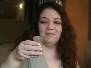 Mature bbw drinks cum from a shot glass...