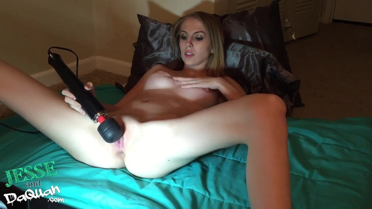 My beautiful white girlfriend toys her wet pussy for fans