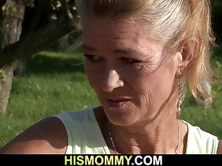 Blonde Brunette Girl vid: His very old mature mother toying girl's pussy