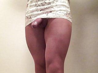 White lace dress Upskirt view .