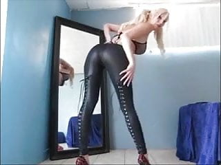 Hot blonde milf shows off her booty in tight pants