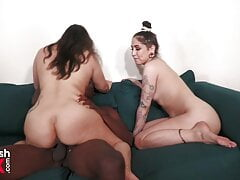 Latina Threesome with Muscular Ebony soccer player