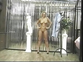 Sexy blonde chick strips to reveal her great...