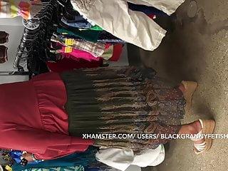Upskirt Bushy Cunt Dark skinned Granny