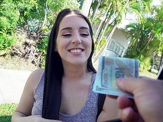 Black haired babe fucks for easy cash