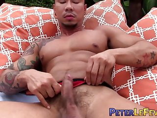 Inked asian man solo...