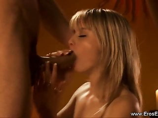 Interracial Cock licking From Erotic Blonde
