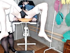 Chubby beautiful nurse gives a 1.5 liter enema to the patient