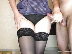 Amateur Teen Stepsister likes when I Cum on her Stockings
