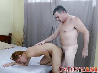 Older daddy drains his cock on Asian twink after raw dicking