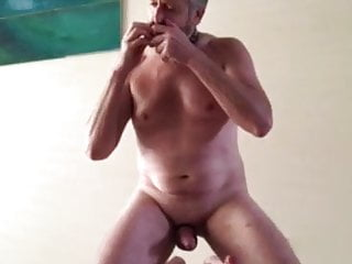 mature Australia faggot play his dildo