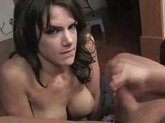 hot brunette busty wife gives blowjob and ends up with a facial cumshotPorn Videos