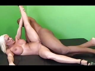 Blonde milf rides a black cock...