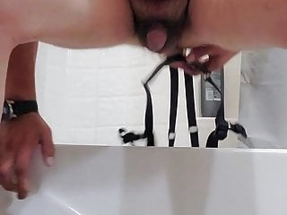 Married sissy taking strap on