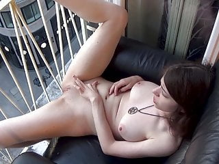Melody squirts via the window on the top of passersby!