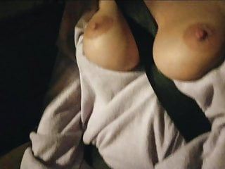 Playing with those cute tits in the car at night