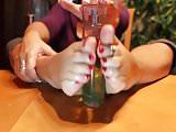 Mature footjob on bottle