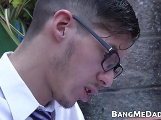 Geeky twink has his dick sucked before pounding...