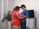 Big belly fatty seduces him for play