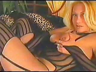 Vintage Shemale video: Horny uncut shemale shoots thick sperm over herself VHS