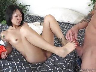 Hot asian give footjob and blowjob...