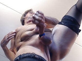 cross dressing in nylons with butt plug inserted in ass