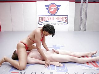 Penny Barber mixed sex wrestling face sitting on loser