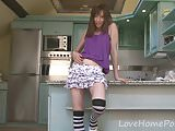 Stripped socks look amazing on this brunette angel