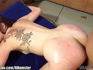 Slutty college girl has a tattoo between her pussy and her a